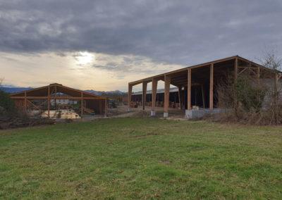 Charpente d'un bâtiment agricole privé -GAEC Montaignon