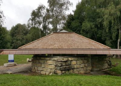 Couverture en bardeau bois Sanitaire aire des Pyrénées ASF à Ger (64) 2017