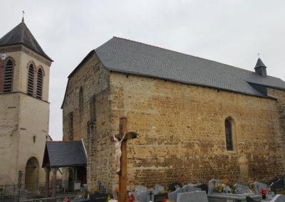 Rénovation église toiture ardoise aux clous BENAC